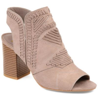 Journee Collection Womens Crosby Booties Stacked Heel Zip