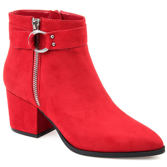 Journee Collection Womens Lavra Booties Block Heel Zip