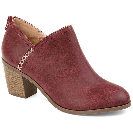 Journee Collection Womens Manda Booties Stacked Heel Zip