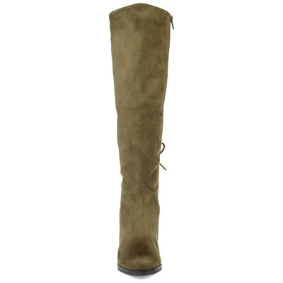 Journee Collection Womens Leeda Wide Calf Riding Boots Block Heel Zip