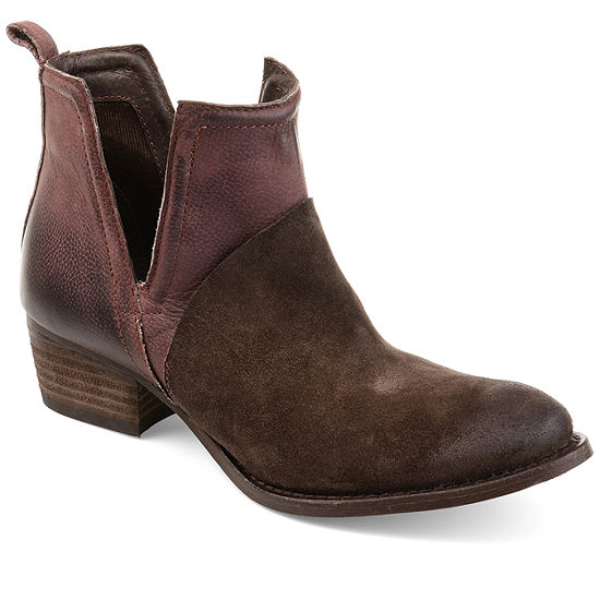 Journee Signature Womens Dempsy Booties Stacked Heel Slip-on