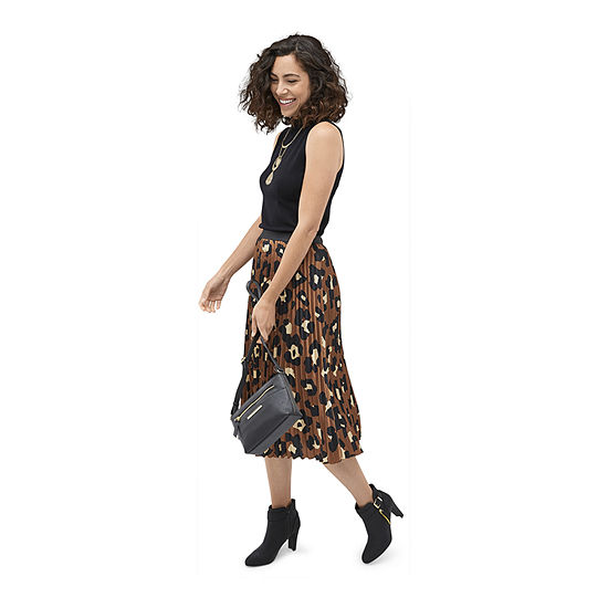 Shades of Brown: Worthington Black Sleeveless Mock Neck With Leopard Pleated Skirt