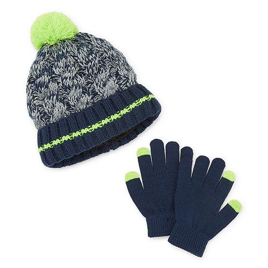 Arizona Fall/Winter Accessories Little Kid / Big Kid Boys 2-pc. Striped Cold Weather Set