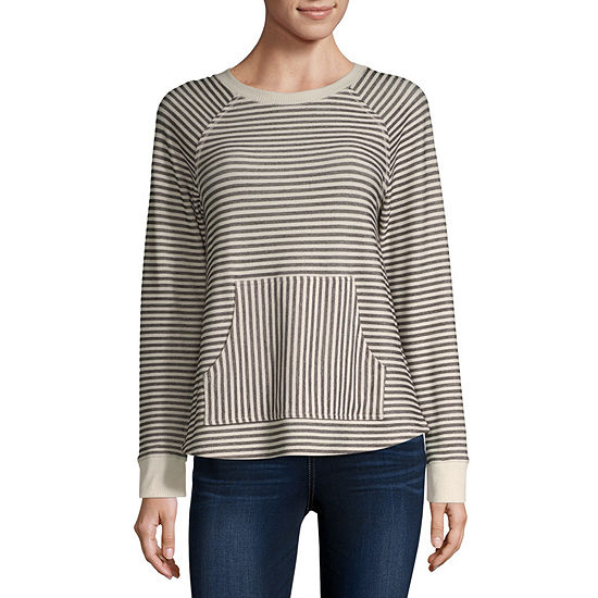 Rewind-Juniors Womens Crew Neck Long Sleeve French Terry Blouse