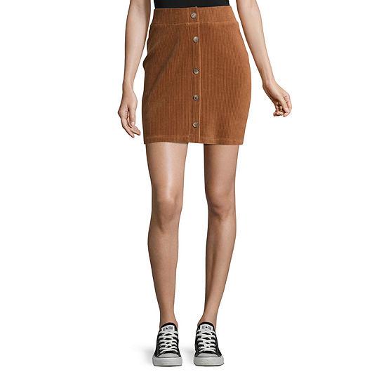 Unionbay Wide Wale Knit Cord Paris Womens Short A-Line Skirt-Juniors