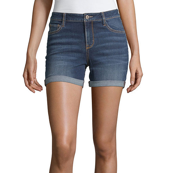 "Arizona Womens 4 1/2"" Denim Short-Juniors"