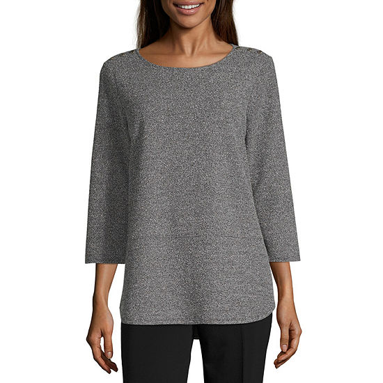 Liz Claiborne Studio Womens Round Neck 3/4 Sleeve Tunic Top