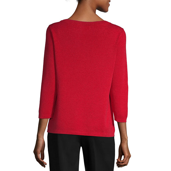 Liz Claiborne Womens Boat Neck 3/4 Sleeve Pullover Sweater