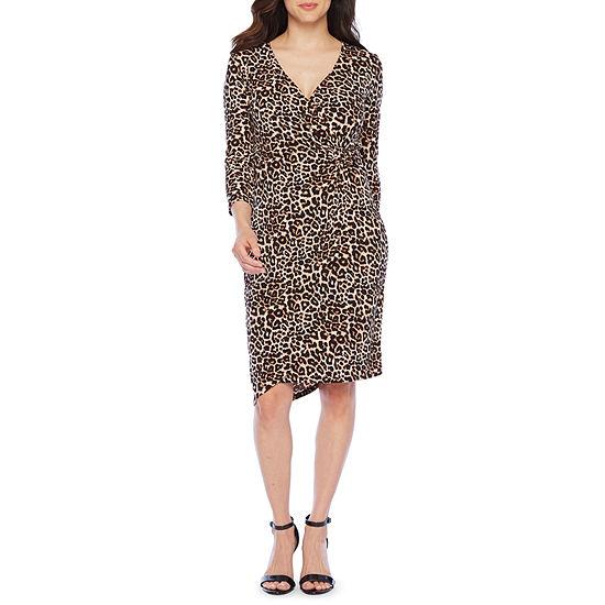 Bold Elements Long Sleeve Animal Wrap Dress