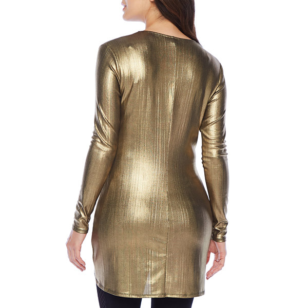 Bold Elements Foil Tunic Womens V Neck Long Sleeve Tunic Top