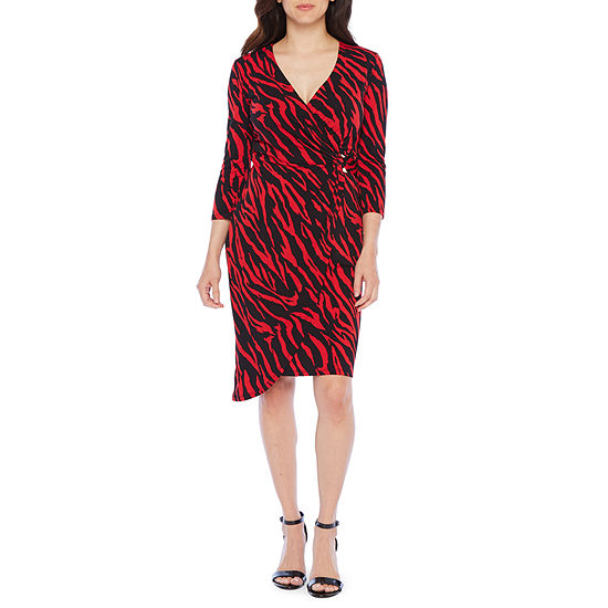 Bold Elements Long Sleeve Zebra Midi Wrap Dress