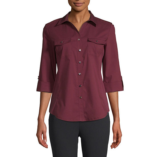 east 5th Womens 3/4 Sleeve Fitted Button-Front Shirt