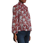 a.n.a Womens High Neck Long Sleeve Blouse
