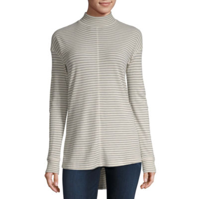 a.n.a Womens Mock Neck Long Sleeve Tunic Top
