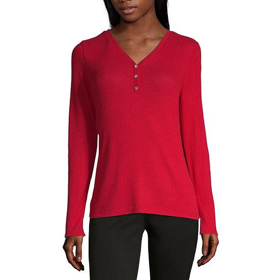 Liz Claiborne Womens V Neck Long Sleeve Henley Shirt