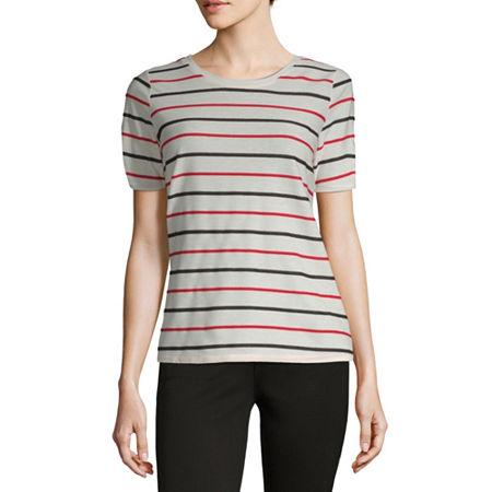 Liz Claiborne-Womens Round Neck Short Sleeve T-Shirt, Medium , White