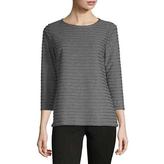 Liz Claiborne-Womens Crew Neck 3/4 Sleeve T-Shirt