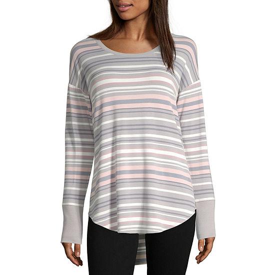 Liz Claiborne Weekend-Womens Crew Neck Long Sleeve T-Shirt