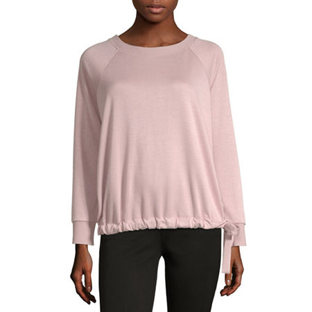 Liz Claiborne Weekend Womens Crew Neck Long Sleeve Blouse, X-small , Pink