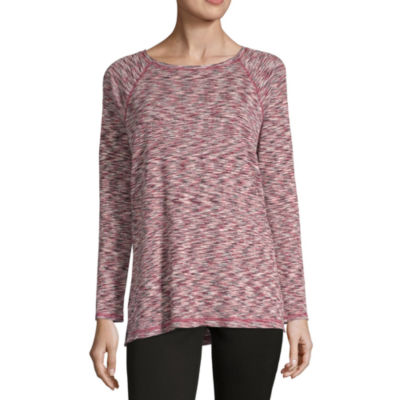 Liz Claiborne Weekend Womens Crew Neck Long Sleeve Tunic Top
