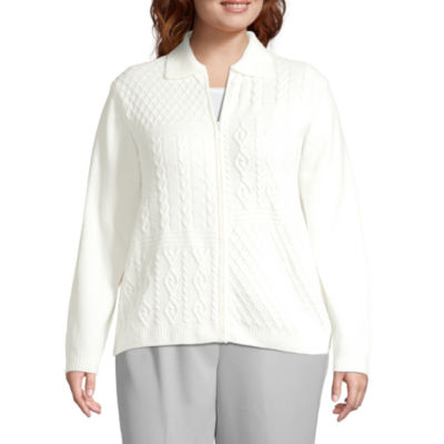 Alfred Dunner-Plus Lake Geneva Womens Long Sleeve Pullover Sweater