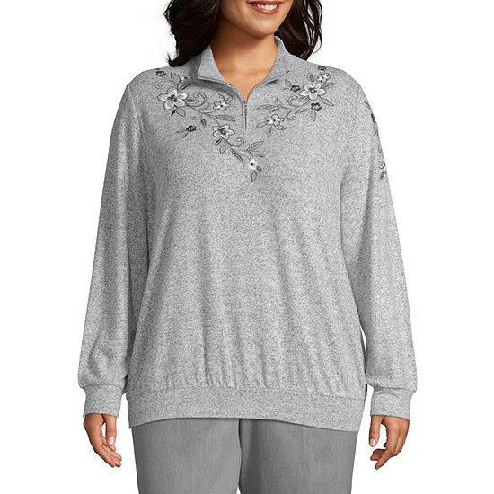 Alfred Dunner Plus Well Red-Womens Mock Neck Long Sleeve T-Shirt