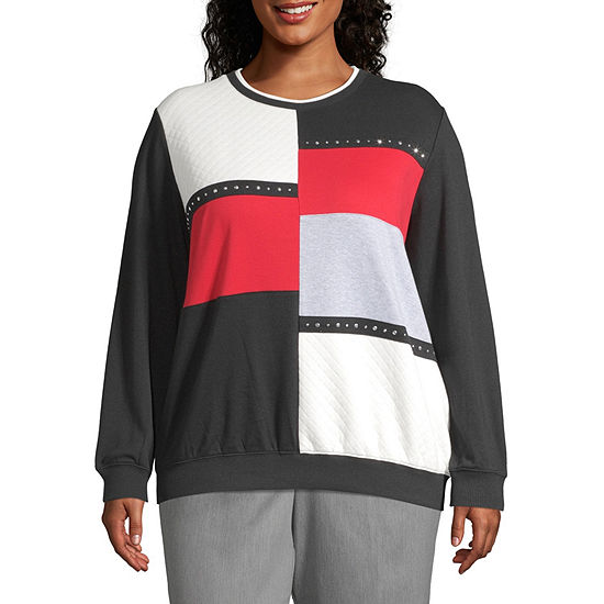 Alfred Dunner Plus Well Red Womens Crew Neck Long Sleeve Sweatshirt