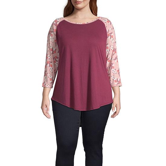 a.n.a-Womens Henley Neck 3/4 Sleeve T-Shirt Plus