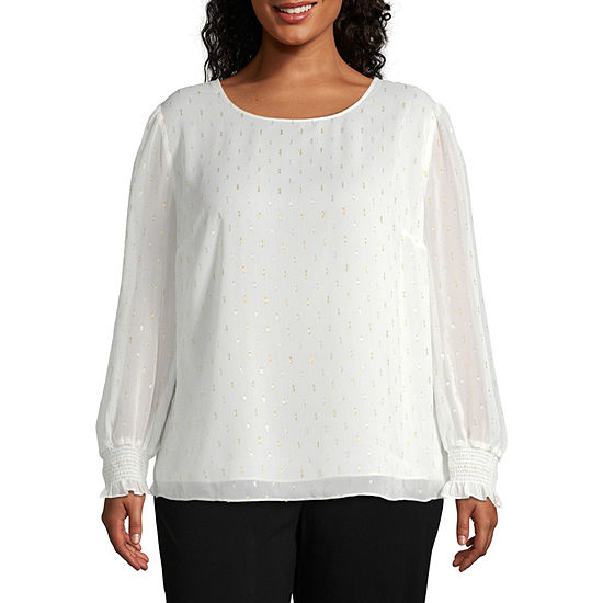 Worthington Womens Clip Dot Shine Blouse - Plus
