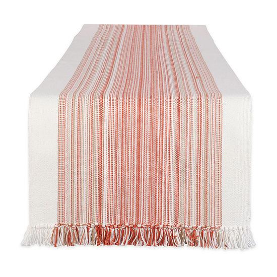 Design Imports Striped Fringe Ribbed Table Runner