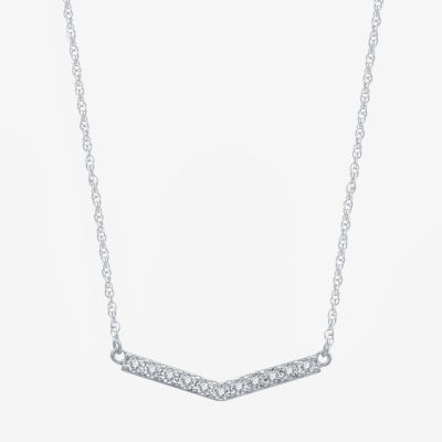 Limited Time Special! Womens 1/10 CT. T.W. Genuine Diamond Sterling Silver Chevron Necklaces