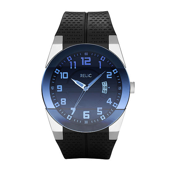 Relic By Fossil Mens Black Strap Watch-Zr11861