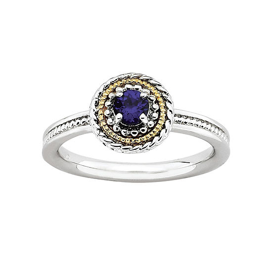 Personally Stackable Two-Tone Stackable Lab-Created Sapphire Ring