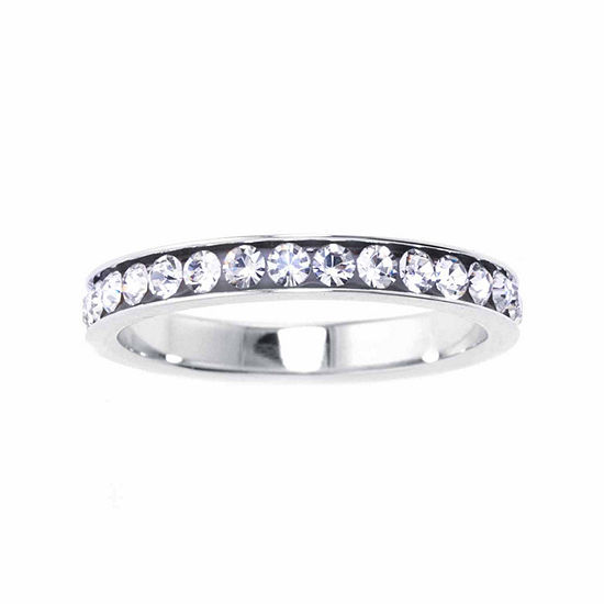 Silver Treasures Womens Sterling Silver Crystal Channel Set Ring