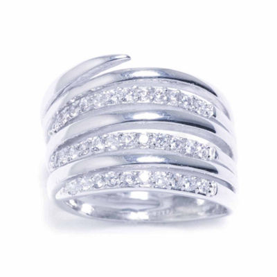 Sparkle Allure Womens Silver Over Brass Cubic Zirconia Ring