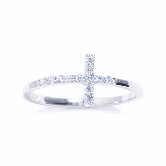 Silver Treasures Womens Cubic Zirconia Sterling Silver Cross Ring
