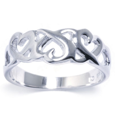 Silver Treasures Womens Sterling Silver Ribbon Heart Ring