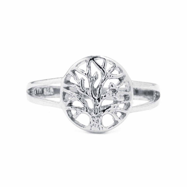 Silver Treasures Womens Sterling Silver Tree of Life Cocktail Ring