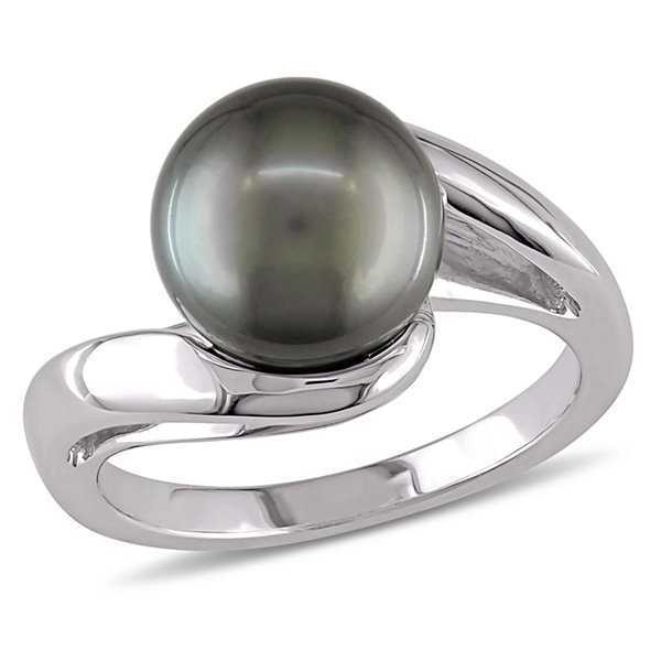 10K White Gold 8.5-9mm Black Tahitian Pearl Ring