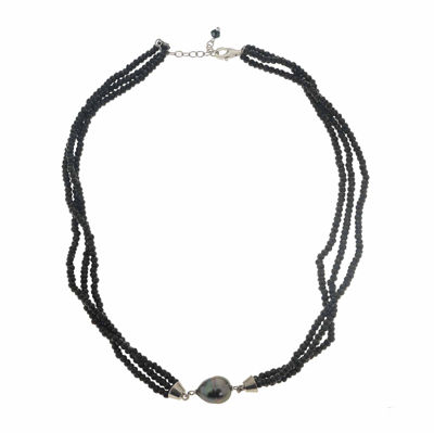Genuine Tahitian Pearl and Black Spinel Bead Sterling Silver Necklace