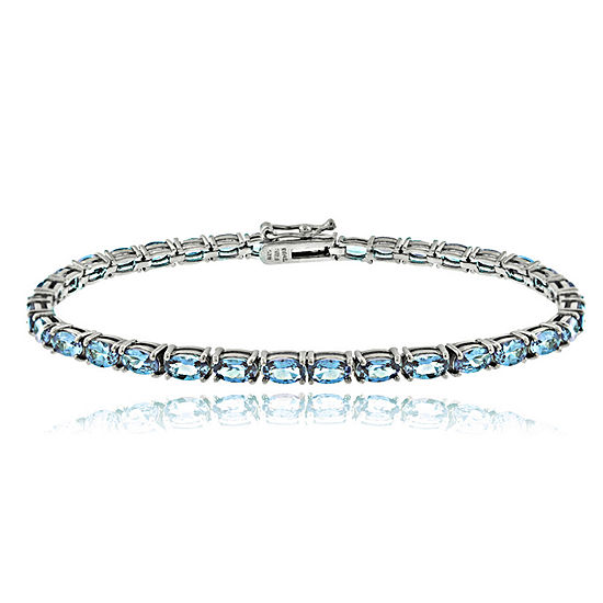 Genuine Blue Topaz Sterling Silver 7.25 Inch Tennis Bracelet