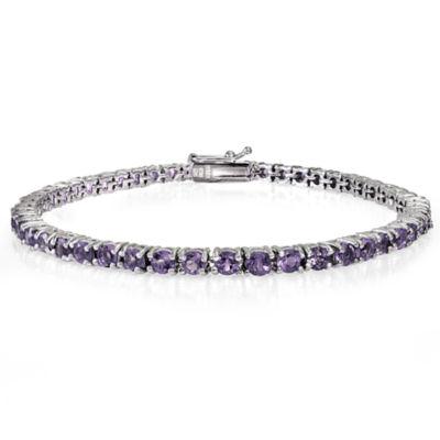 Womens 7.25 Inch Purple Amethyst Sterling Silver Link Bracelet
