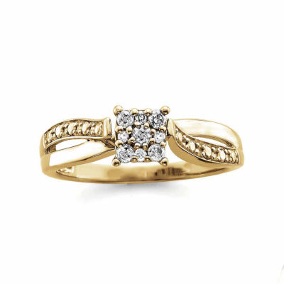 Promise My Love Womens 1/6 CT. T.W. Round Diamond 10K Gold Promise Ring