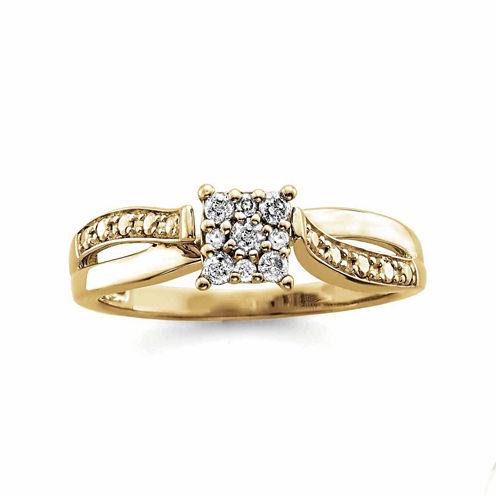 Womens 1/6 CT. T.W. Genuine Round Diamond 10K Gold Engagement Ring