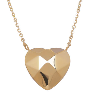LIMITED QUANTITIES! 10K Yellow Gold Polished Puff Faceted Heart Necklace