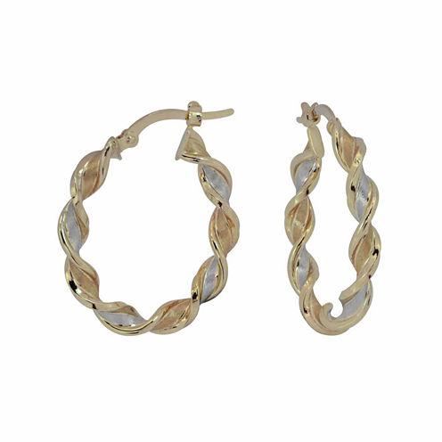 Tri Color14K Gold Twisted Ribbon Hoop Earrings