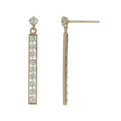 14K Gold White Cubic Zirconia Drop Earrings