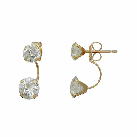 14K Gold Cubic Zirconia Earring Jackets