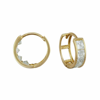 14K Gold Cubic Zirconia Hoop Earrings