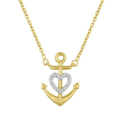 Womens White Diamond Accent Gold Over Silver Pendant Necklace